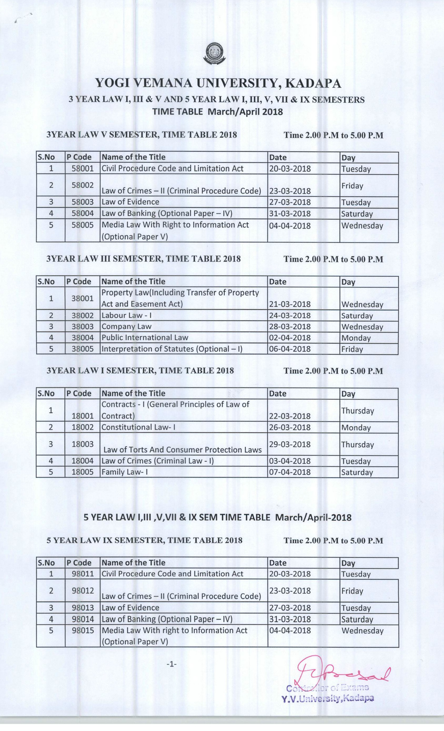 3 and 5 Year Law Time Table