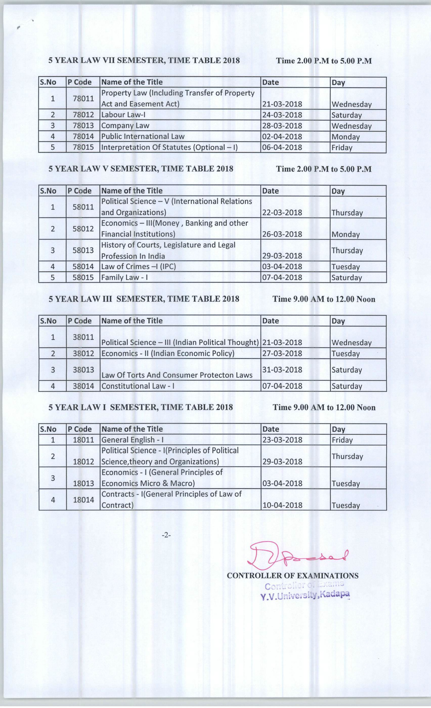 5 Year LawvTime Table